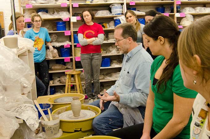 1st-time Students learning in a Ceramics class at Lillstreet in Chicago